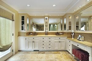 Bathroom with a lot of cabinets