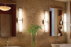 Bathroom with unique sinks and lights