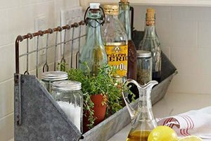 Kitchen or bathroom counters with baskets to hold items