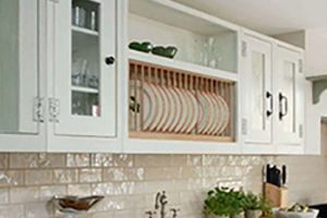 Kitchen with hanging dish rack