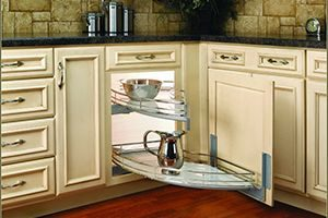 Kitchen with pullout drawer for utensil storage