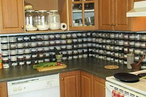 Kitchen with spice rack beneath cabinets