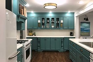 cabinets with waterborne alkyd paint