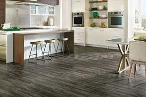 kitchen with a ceramic/vinyl hybrid tile floors