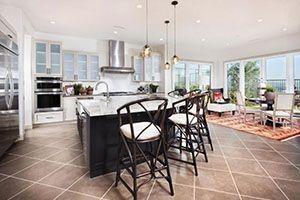 kitchen with linen textured ceramic tile