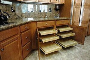Kitchen with cabinets that slide out
