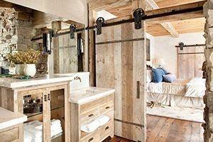 bathroom with a barn door
