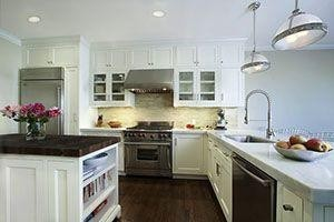 kitchen with square-edged cabinets