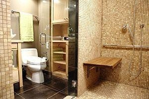 shower stall with faux wooden tile