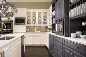 kitchen cabinets with different colors