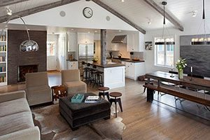 kitchen with open floor plan exposing living area or dining room