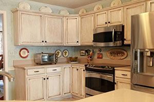 milk painted cabinets