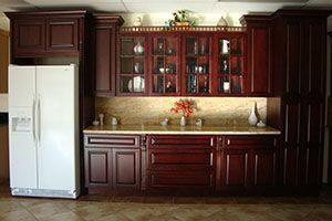 varnished cabinets
