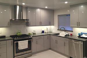 flat style RTA cabinets with white melamine
