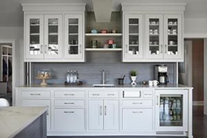 kitchen with both glasses inset and solid front cabinets
