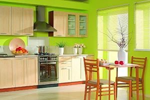 with bright green or orange cabinets
