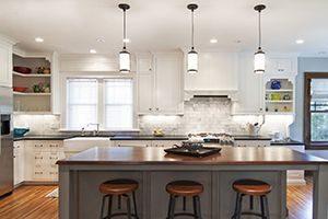 pendant lights or chandelier over kitchen island