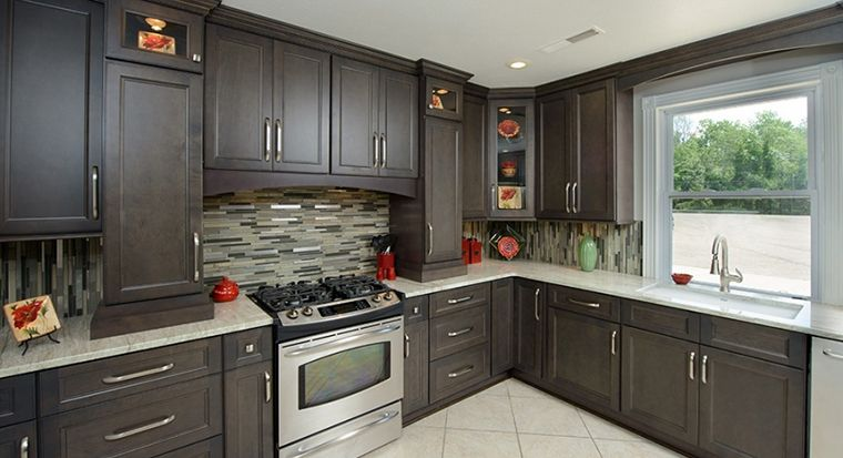 assembled kitchen cabinets in show room