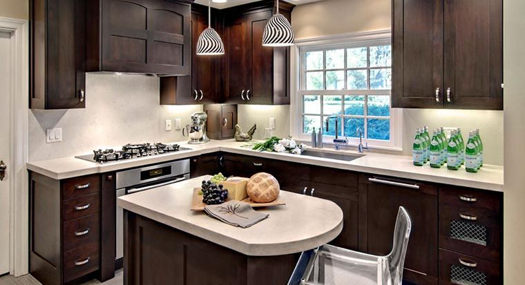 small kitchen with kitchen cabinets