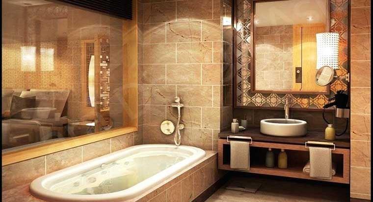 bathroom with earth tones