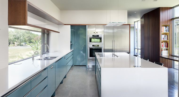 kitchen cabinets with cutouts, no hardware
