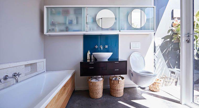 floating sink in modern bathroom