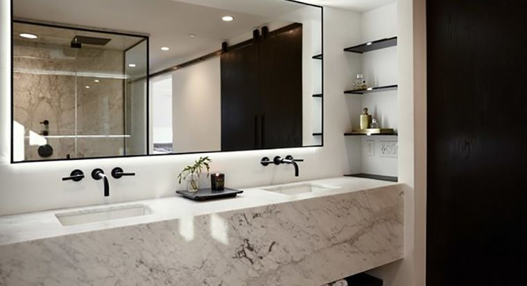 bathroom with mitered edge