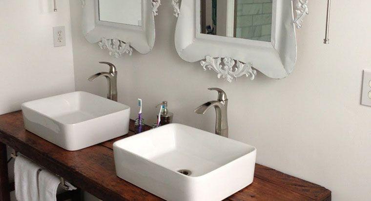 bathroom with square edge vanity