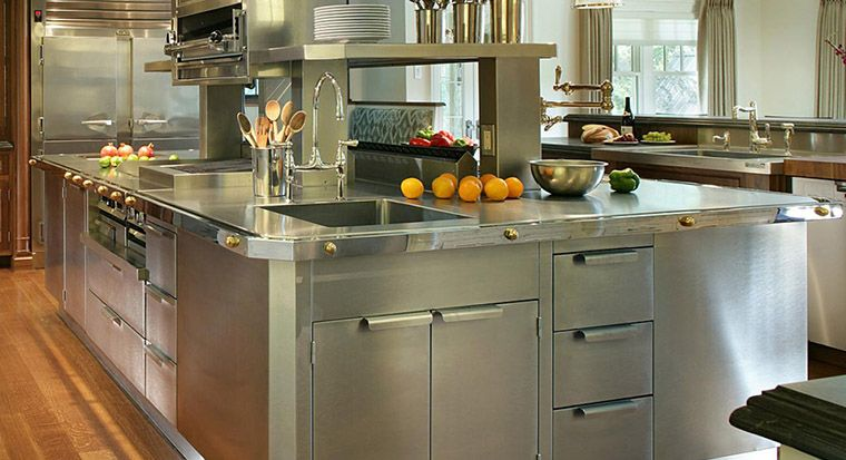 cabinets with stainless steel doors