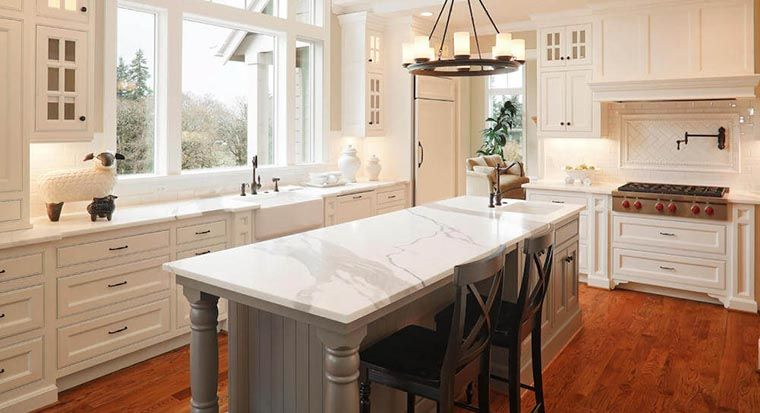 glowing white marble countertop