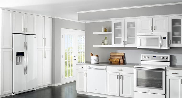 white appliances and/or cabinets