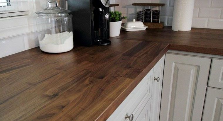 on wood counters