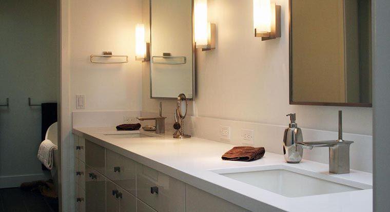 bathroom with quartz stone vanity